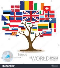 Europe Flags Tree Design Countries Europe Flag World Stock Vektorgrafik