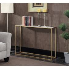 convenience concepts console table convenience concepts gold coast faux marble metal console table