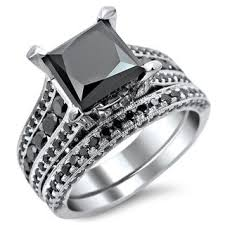 black engagement ring set princess cut black rings wedding promise
