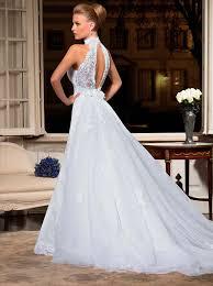 high neck halter wedding dress white lace sleeveless high neck floor length wedding dresses