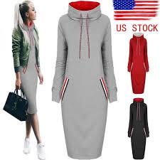 great us womens casual dress long sleeve hoodie hooded jumper