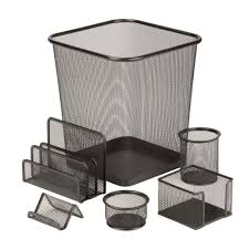 Stainless Steel Desk Accessories Honey Can Do 6 Piece Steel Mesh Desk Set In Black Ofc 03491 The