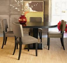 Dining Table And Fabric Chairs Fair Round Shape Black Wooden Dining Table Come With Armless Brown