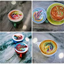 a creative barista devises method for pouring rainbow foam lattes