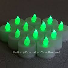 flameless tea lights green led battery operated set 12