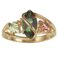topaz gemstone rings images Black hills gold ladies ring w marquise shaped mystic fire topaz jpg