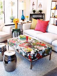 ottoman with patterned fabric coffee table point of interest bring color scheme together in