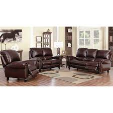 abbyson living charlotte 3 pc leather push back reclining set
