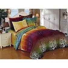 amazon com rainbow tree 3pc bedding set duvet cover and two