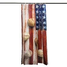 150x180cm american flag baseball waterproof shower curtain