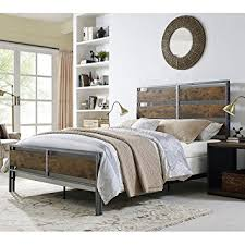 Wood And Iron Bedroom Furniture by Amazon Com We Furniture Queen Size Metal U0026 Wood Plank Bed Brown