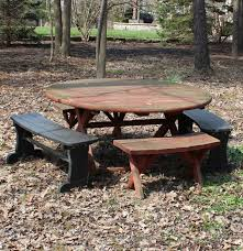 Redwood Picnic Tables And Benches Round Redwood Picnic Table Ebth