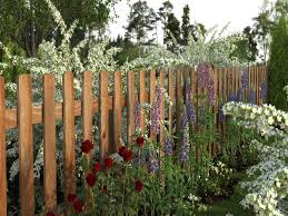 Decorative Garden Wood Fence Designs With Plant And Tree Great