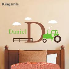 sticker for kids room picture more detailed picture about cartoon tractor wall decals set boys personalized name initial removable nursery stickers for kids room home
