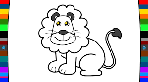 animal coloring pages how to draw a lion drawing and coloring
