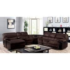 furniture of america glasgow sectional with wedge table in brown