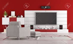 Living Room Arm Chair Red Living Room With Tv Stand Speaker And Armchair Rendering