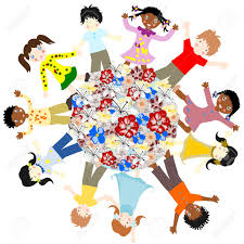 happy children of different races around the world blossoms on