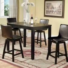 modern dining room design with comfortable black counter height