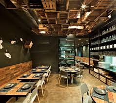 interior industrial interior bar resto design with wooden box