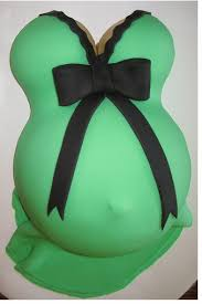 green pregnant belly baby shower cake with black ribbons png 1