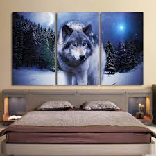 3 piece canvas art painting printed snow wolf moon ash wall decor 3 piece canvas art painting printed snow wolf moon ash wall decor
