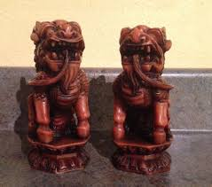 shishi statue vintage pair of wood and resin shishi lion ornaments or