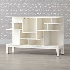tall white modern geometric bookcase the land of nod