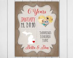 6 year anniversary gift ideas for 6 years together etsy