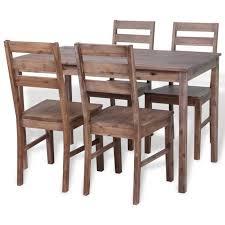 ensemble de cuisine en bois vidaxl ensemble de salle à dîner cinq pièces bois d acacia achat