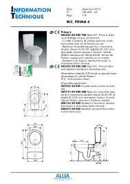 Flotteur Wc Suspendu by Fiche Technique Pack Wc Prima 6 Par Allia Salle De Bains