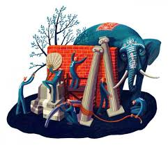 3 Blind Men And The Elephant Editorial Illustration By Nata Metlukh Art And Design