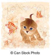 vector illustration of birthday card with little tabby kitten