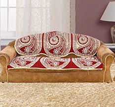 Buy Sofa Cover  Piece Set With Attractive Colour And Floral - Sofa cover design