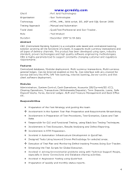 Qtp Sample Resume For Software Testers by Qtp Resume