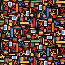 black robert kaufman fabric pencil crayon ruler apple back to