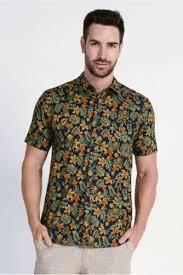 men s braintree men s hemp cotton short sleeve shirt tropical print in