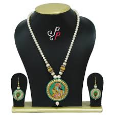 green stone necklace pendant images Pearl necklace sets classic and traditional radha krishna green jpg