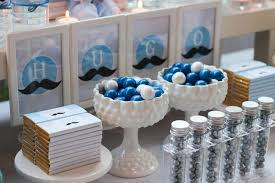 silver party favors blue silver white and mustache birthday party ideas photo 4 of