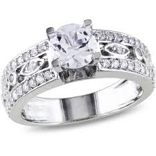 sapphire and engagement rings miabella 1 7 8 carat t g w white sapphire sterling silver
