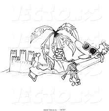 vector of a cartoon beach bum man tanning by a sand castle