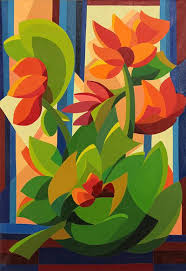 cubism flower painting original cubist floral painting from brazil tropical flowers
