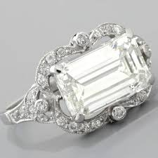 vintage emerald cut engagement rings emerald cut diamond engagement ring