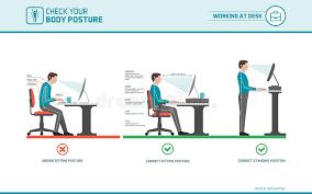 posture au bureau position d assise correcte au bureau illustration de vecteur