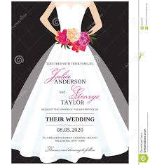 bridal card wedding invitation card with wedding dress stock vector