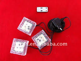 led solar glass brick light with remote controller rgb color