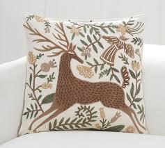 velvet appliqué deer pillow cover pottery barn