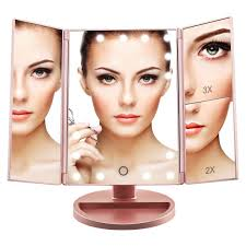 artifi lighted makeup mirror with light tri fold illuminated