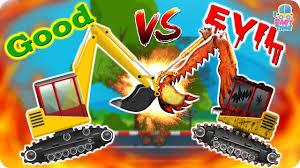 excavator war good vs evil scary construction vehicles big