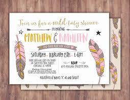tribal baby shower invitation boho baby shower invite feathers